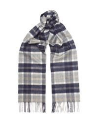 Johnstons Gray Checked Cashmere Scarf for men