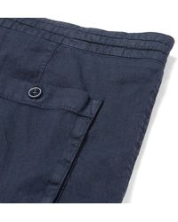 Loro Piana Blue Slim-fit Stretch Linen And Cotton-blend Drawstring Trousers for men