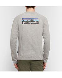 Patagonia Gray P-6 Logo-print Loopback Organic Cotton-blend Jersey Sweatshirt for men