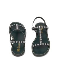 Mulberry Black Capri T-strap Flat Sandal
