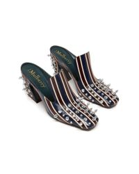 Mulberry Blue Palace Striped Studs Mule