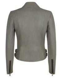 Muubaa - Gray Rengo Grey Leather Biker Jacket - Lyst