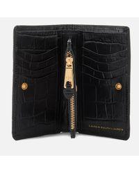 Lauren by Ralph Lauren - Black Newbury New Compact Soft Faux Croc Wallet - Lyst