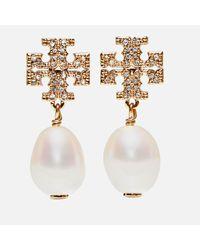 Tory Burch Metallic Kira Pave Pearl Drop Earrings