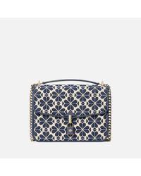 Kate Spade Blue Locket Large Jacquard Flap Shoulder Bag