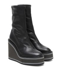 Clergerie Black Bliss Leather Wedge Ankle Boots