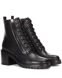Gianvito Rossi - Black Croft Leather Ankle Boots - Lyst