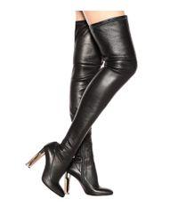 Stivali cuissardes in pelle di Alexander McQueen in Black