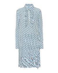 Prada Blue Kleid mit Print