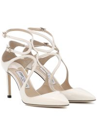Jimmy Choo White Lancer 85 Patent Leather Pumps