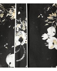 Erdem Black Liana Floral-printed Silk Shirt
