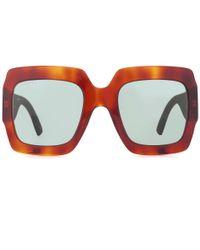 Gucci - Brown Square Sunglasses - Lyst