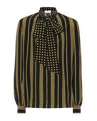 Blusa de crepé de seda estampada Saint Laurent de color Multicolor