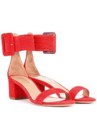 Aquazzura - Red Casablanca Suede Sandals - Lyst