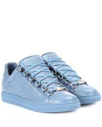 Balenciaga Blue Arena Leather Sneakers