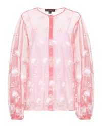 Burberry - Pink Embroidered Tulle Blouse - Lyst