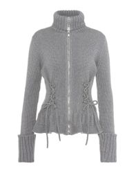 Alexander McQueen Gray Wool Zip-up Sweater