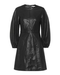 Tibi Black Minikleid aus Lederimitat