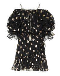 Dundas Black Polka-dot Silk-chiffon Dress