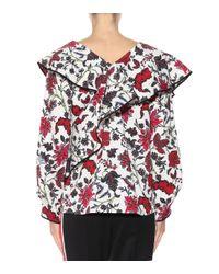 Diane von Furstenberg Multicolor Bedruckte Bluse aus Baumwoll-Crêpe