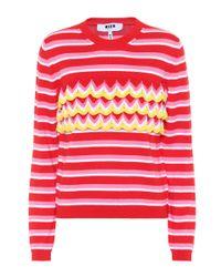 MSGM Red Gestreifter Pullover aus Baumwolle