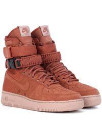 Nike Brown Sneakers Air Force 1 High mit Leder