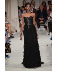 Oscar de la Renta Black Ruffled Tulle Gown