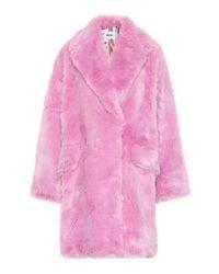 MSGM Pink Mantel aus Faux Fur