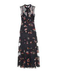 RED Valentino Black Kleid aus Stretch-Seide mit Tülleinsätzen