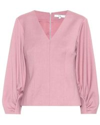 Tibi Pink Langärmliges Top