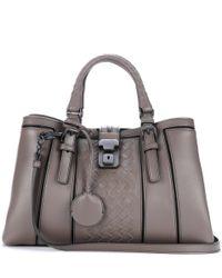 Bottega Veneta   Gray Small Roma Intrecciato Leather Tote   Lyst