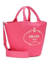 Prada Pink Logo Canvas Tote