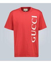 Gucci Red Bedrucktes Oversize T-Shirt
