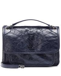 Saint Laurent Blue Medium Niki Leather Shoulder Bag