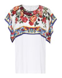 Dolce & Gabbana White Printed Cotton And Silk Top