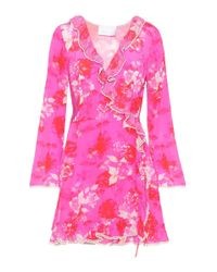 Athena Procopiou Pink Melrose Sunset Silk Wrap Dress