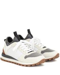 Brunello Cucinelli White Sneakers aus Mesh und Veloursleder