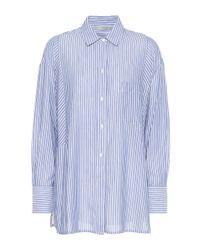 Vince Blue Gestreifte Bluse aus Baumwolle