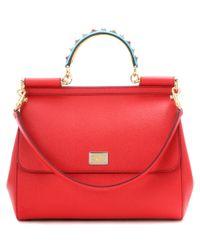 Dolce & Gabbana Red Exklusiv bei mytheresa.com – Verzierte Tote Sicily aus Leder