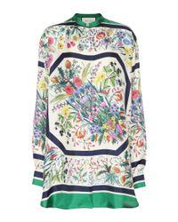 Gucci Multicolor Bedruckte Bluse aus Seide