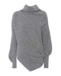 Stella McCartney - Gray Asymmetric Virgin Wool Sweater - Lyst
