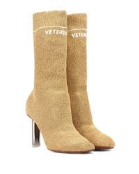Vetements Metallic Ankle Boots aus Stretch-Jersey