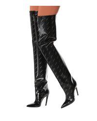 Balenciaga Black Overknee-Stiefel Knife aus Lackleder