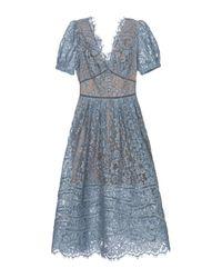 Self-Portrait Blue Guipure Lace Midi Dress