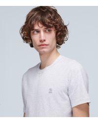 Brunello Cucinelli Gray T-Shirt aus Baumwolljersey