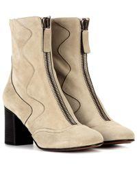 Chloé Natural Exklusiv bei Mytheresa – Stiefel aus Veloursleder