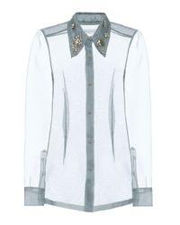 Camicia in organza con cristalli di Dries Van Noten in Blue