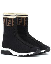 Fendi Black Sneakers aus Stretch-Strick