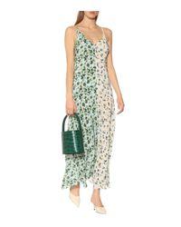 Robe longue Eloise en soie imprimée Lee Mathews en coloris Green