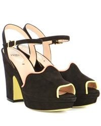Fendi - Black Suede Platform Sandals - Lyst